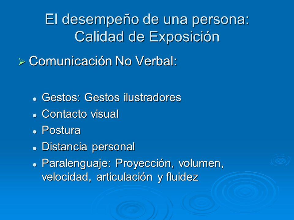 El desempeño de una persona: Calidad de Exposición Comunicación No Verbal: Comunicación No Verbal: Gestos: Gestos ilustradores Gestos: Gestos ilustrad