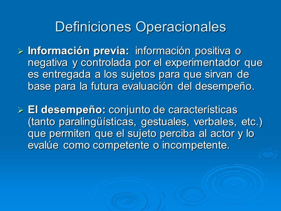 Información previa: información positiva o negativa y controlada por el experimentador que es entregada a los sujetos para que sirvan de base para la