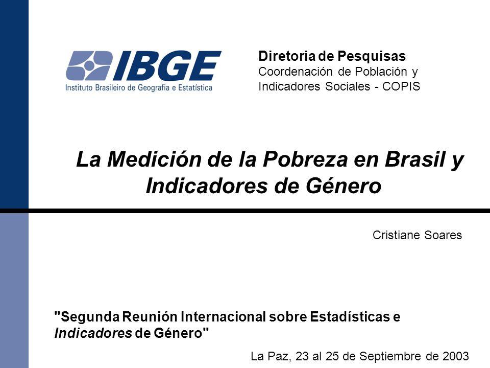 El IBGE y la Construción de Indicadores acerca de la Pobreza y Género Desde la década de 1980 el IBGE/COPIS, indirectamente, en sus publicaciones, trata de la temática de género y pobreza en sus indicadores.
