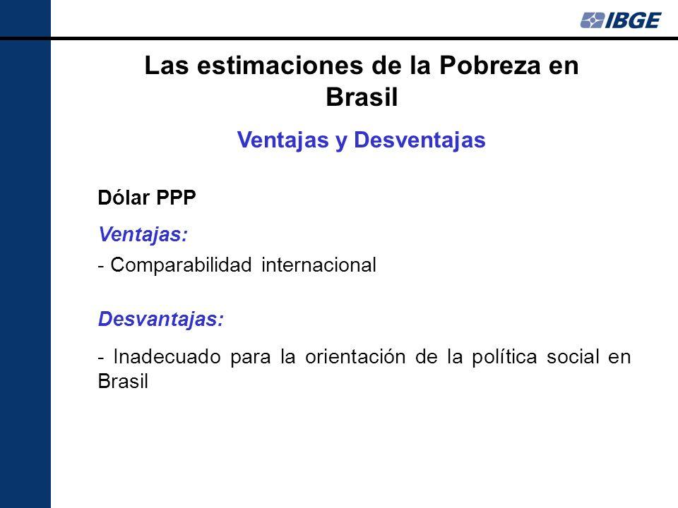 Las estimaciones de la Pobreza en Brasil Ventajas y Desventajas Dólar PPP Ventajas: - Comparabilidad internacional Desvantajas: - Inadecuado para la o