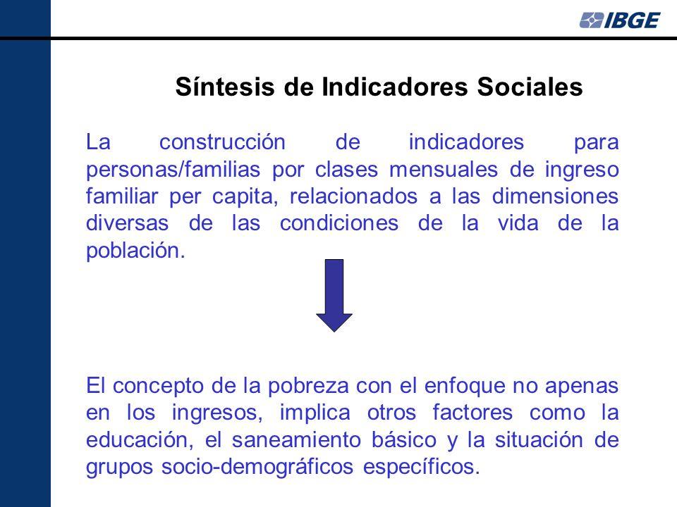 Síntesis de Indicadores Sociales La construcción de indicadores para personas/familias por clases mensuales de ingreso familiar per capita, relacionad
