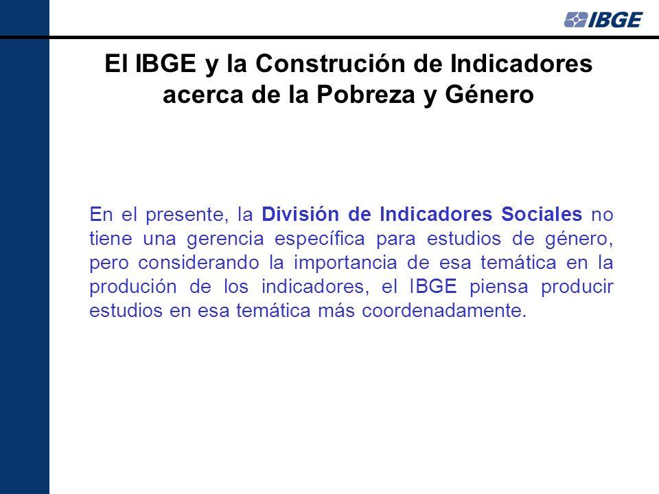 Síntesis de Indicadores Sociales El IBGE, por medio de la publicación de la Síntesis de Indicadores Sociales, ha divulgado indicadores que pueden ser considerados las medidas de pobreza relativa a partir de los dados de la Encuesta Nacional por Muestra Domiciliar.