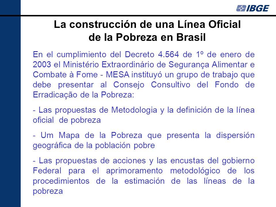 La construcción de una Línea Oficial de la Pobreza en Brasil En el cumplimiento del Decreto 4.564 de 1º de enero de 2003 el Ministério Extraordinário