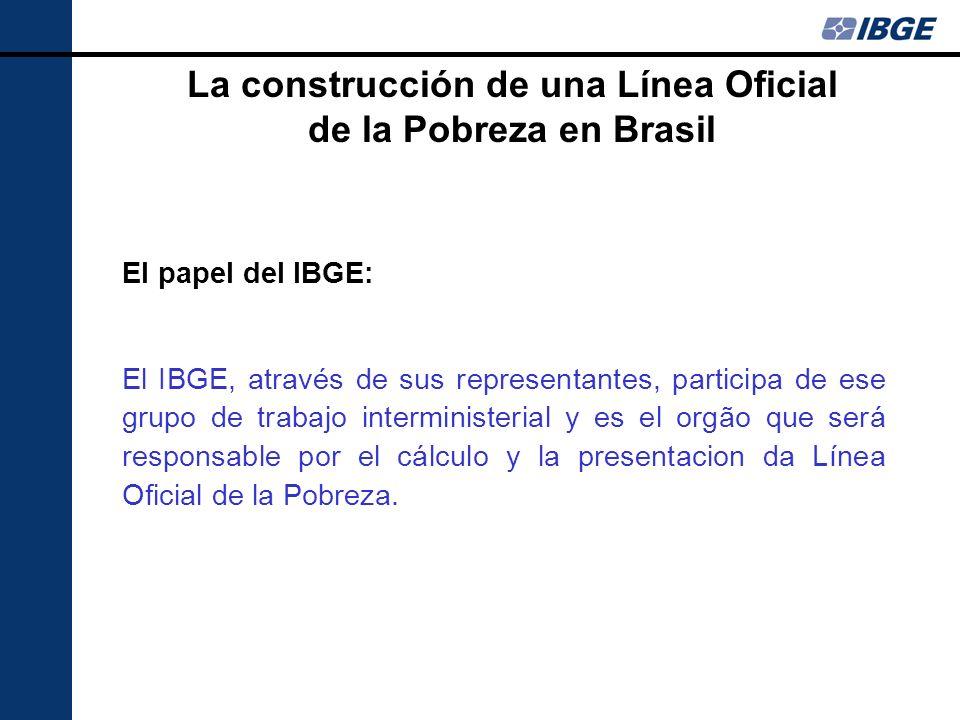 El papel del IBGE: El IBGE, através de sus representantes, participa de ese grupo de trabajo interministerial y es el orgão que será responsable por e