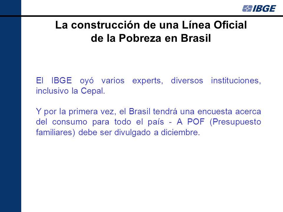 El IBGE oyó varios experts, diversos instituciones, inclusivo la Cepal. Y por la primera vez, el Brasil tendrá una encuesta acerca del consumo para to