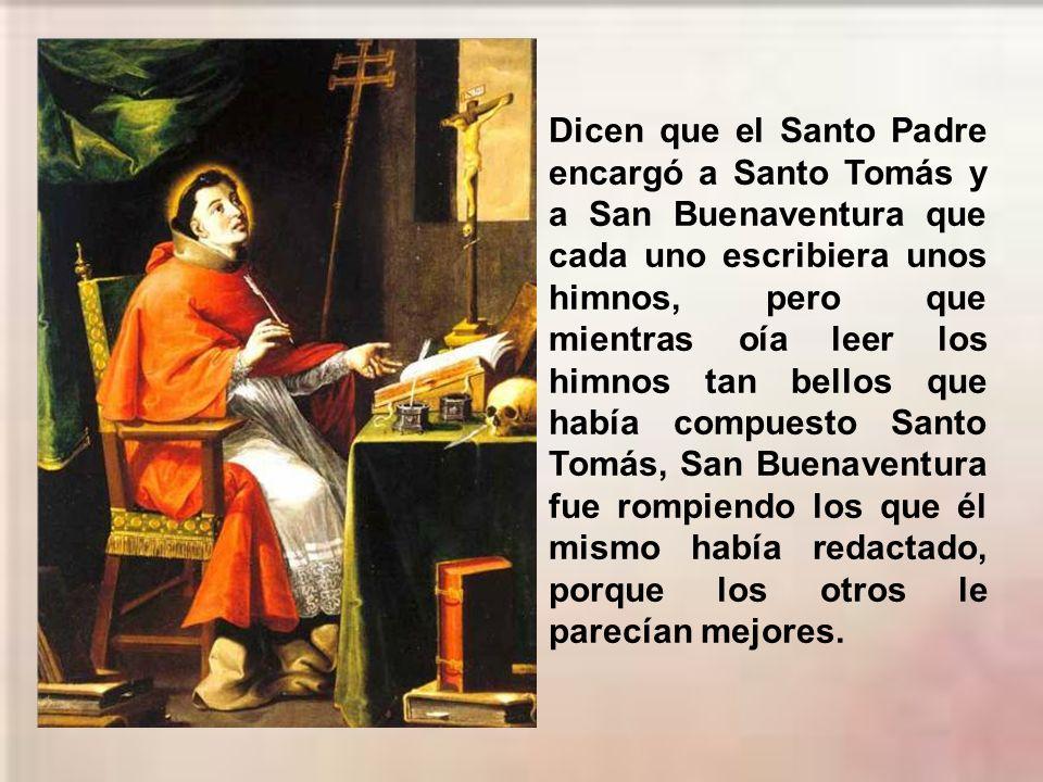 De 1261 a 1265 Tomás estuvo en Orvieto. El Romano Pontífice Urbano IV, que lo tenía en gran estima, le encargó la composición de los textos litúrgicos