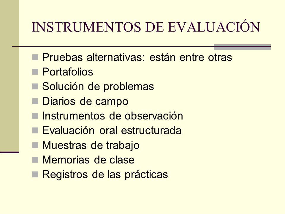 INSTRUMENTOS DE EVALUACIÓN Pruebas alternativas: están entre otras Portafolios Solución de problemas Diarios de campo Instrumentos de observación Eval