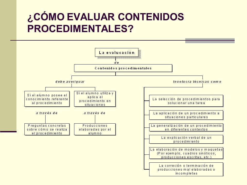 La evaluación de contenidos procedimentales: Debe considerar, principalmente, hasta qué punto el alumno es capaz de utilizar cada procedimiento.