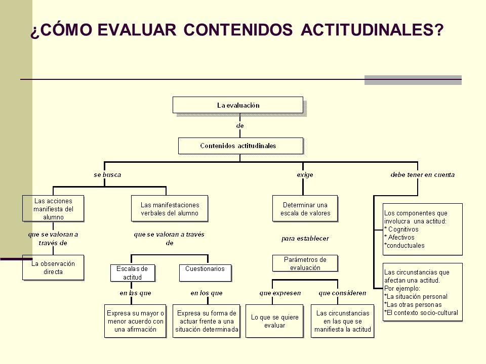 La evaluación de contenidos actitudinales: Se realiza,principalmente,a partir de la observación de las acciones del alumno.