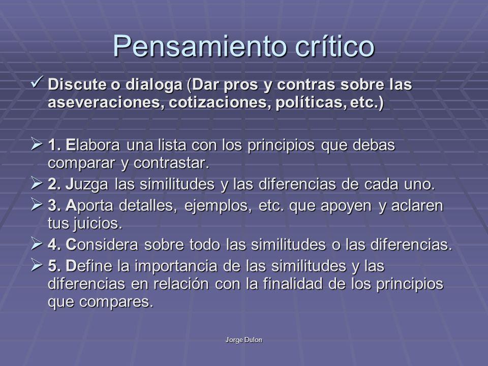 Jorge Dulon Pensamiento crítico Discute o dialoga (Dar pros y contras sobre las aseveraciones, cotizaciones, políticas, etc.) Discute o dialoga (Dar p