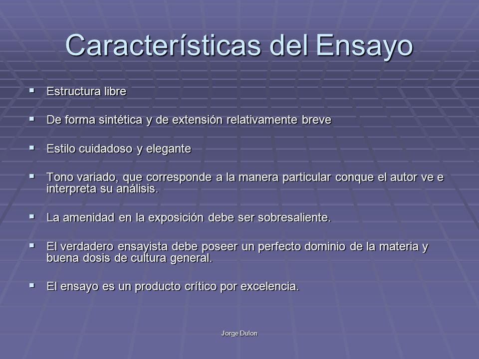 Jorge Dulon Características del Ensayo Estructura libre Estructura libre De forma sintética y de extensión relativamente breve De forma sintética y de