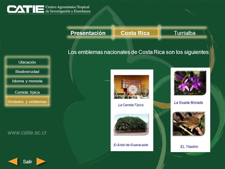Los emblemas nacionales de Costa Rica son los siguientes: PresentaciónCosta RicaTurrialba Biodiversidad Comida típica Símbolos y emblemas Salir Ubicac