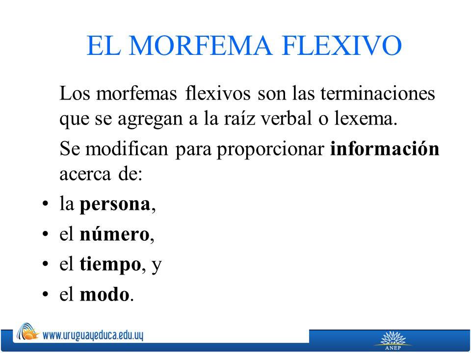 EL MORFEMA FLEXIVO Los morfemas flexivos son las terminaciones que se agregan a la raíz verbal o lexema. Se modifican para proporcionar información ac