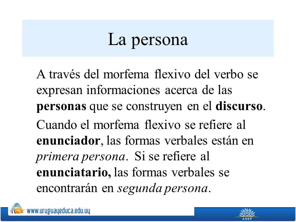 La persona A través del morfema flexivo del verbo se expresan informaciones acerca de las personas que se construyen en el discurso. Cuando el morfema