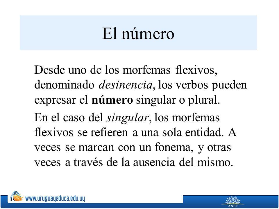 El número Desde uno de los morfemas flexivos, denominado desinencia, los verbos pueden expresar el número singular o plural. En el caso del singular,