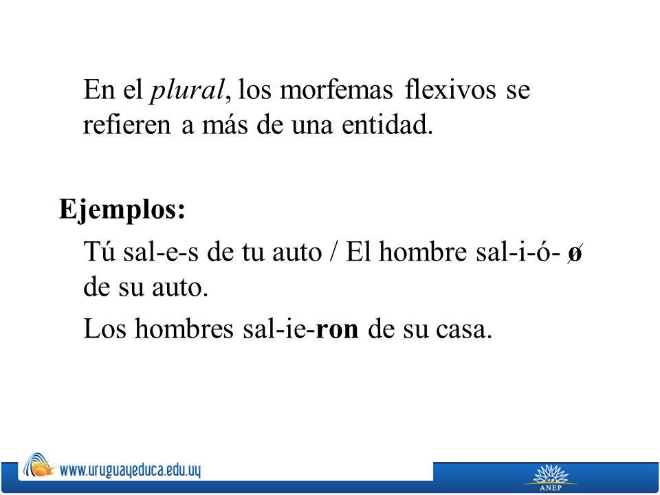 En el plural, los morfemas flexivos se refieren a más de una entidad. Ejemplos: Tú sal-e-s de tu auto / El hombre sal-i-ó- o de su auto. Los hombres s
