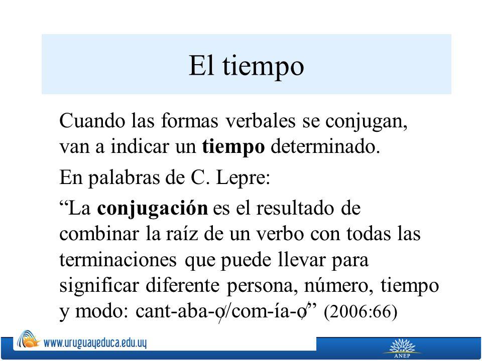 El tiempo Cuando las formas verbales se conjugan, van a indicar un tiempo determinado. En palabras de C. Lepre: La conjugación es el resultado de comb