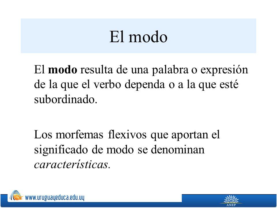 El modo El modo resulta de una palabra o expresión de la que el verbo dependa o a la que esté subordinado. Los morfemas flexivos que aportan el signif