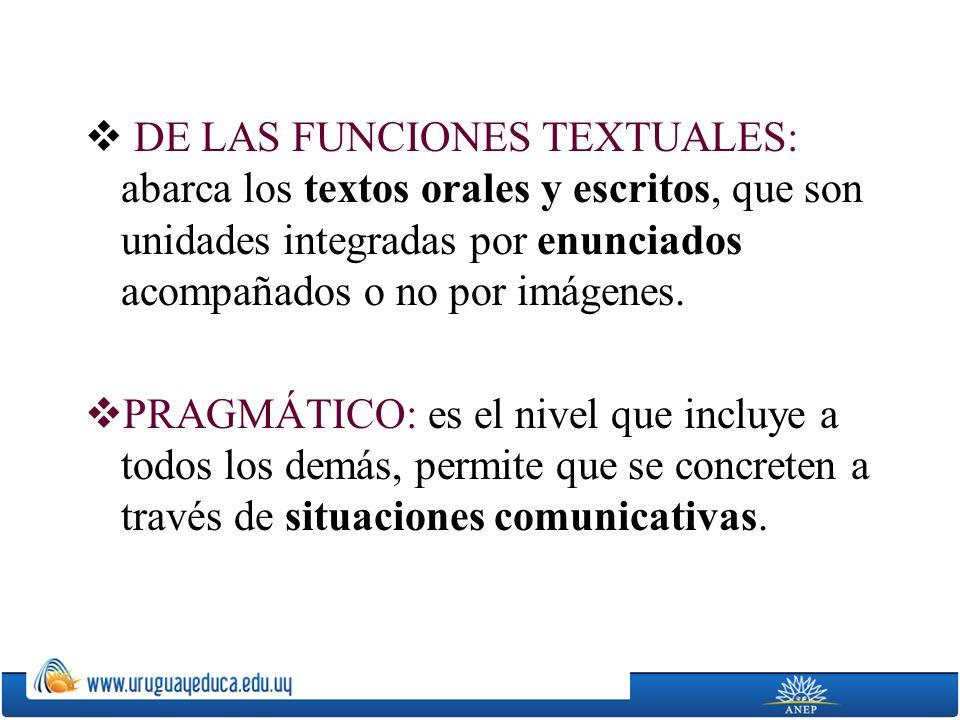 DE LAS FUNCIONES TEXTUALES: abarca los textos orales y escritos, que son unidades integradas por enunciados acompañados o no por imágenes. PRAGMÁTICO: