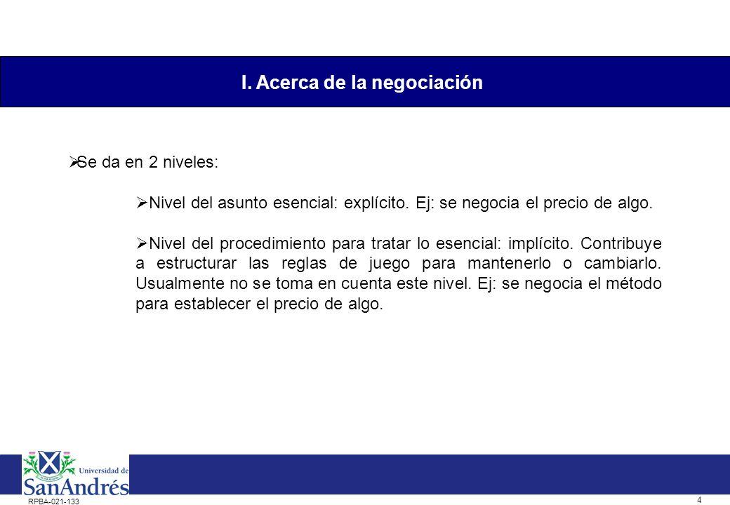 3 RPBA-021-133 Tipos de negociación: Negociación suave: evasión de conflictos y concesión.