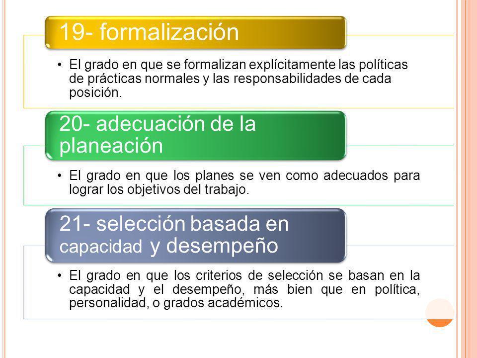 El grado en que se formalizan explícitamente las políticas de prácticas normales y las responsabilidades de cada posición. 19- formalización El grado