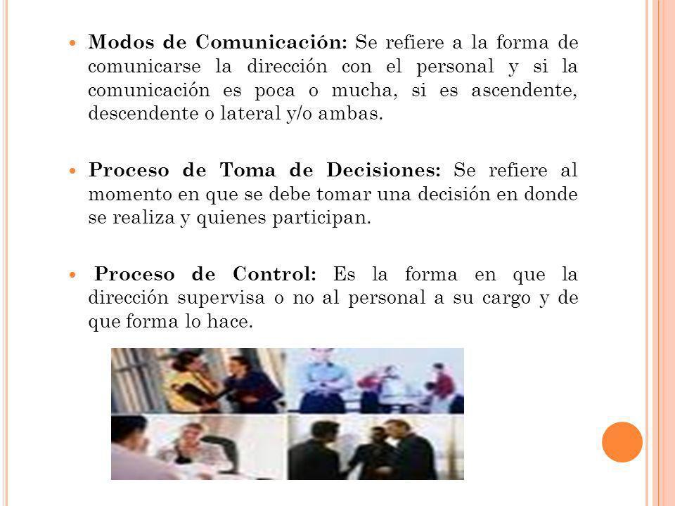 Modos de Comunicación: Se refiere a la forma de comunicarse la dirección con el personal y si la comunicación es poca o mucha, si es ascendente, desce