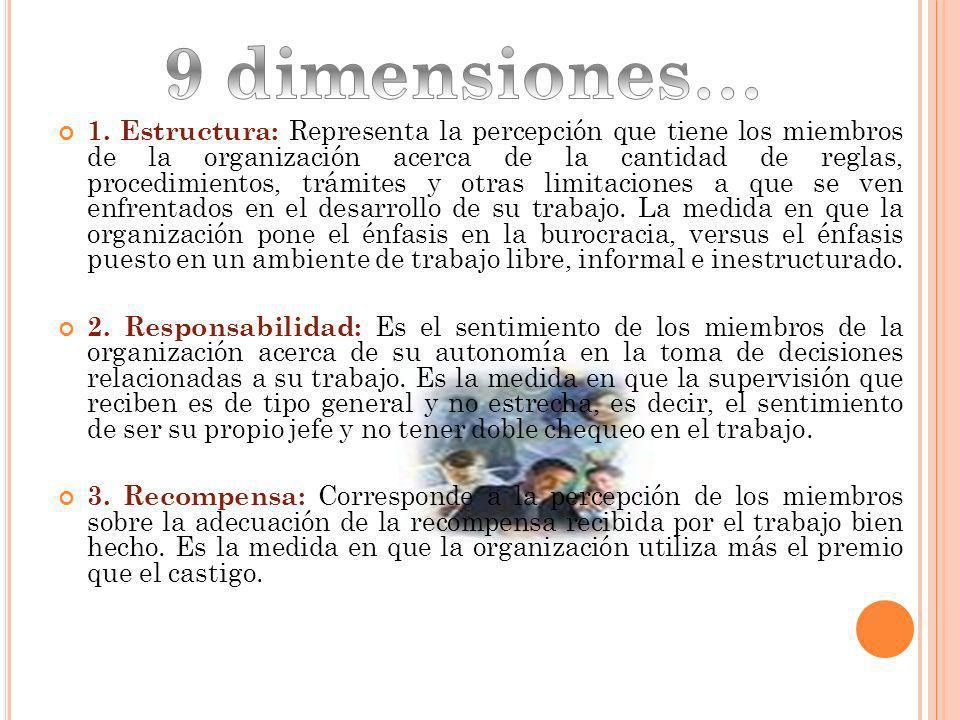 1. Estructura: Representa la percepción que tiene los miembros de la organización acerca de la cantidad de reglas, procedimientos, trámites y otras li