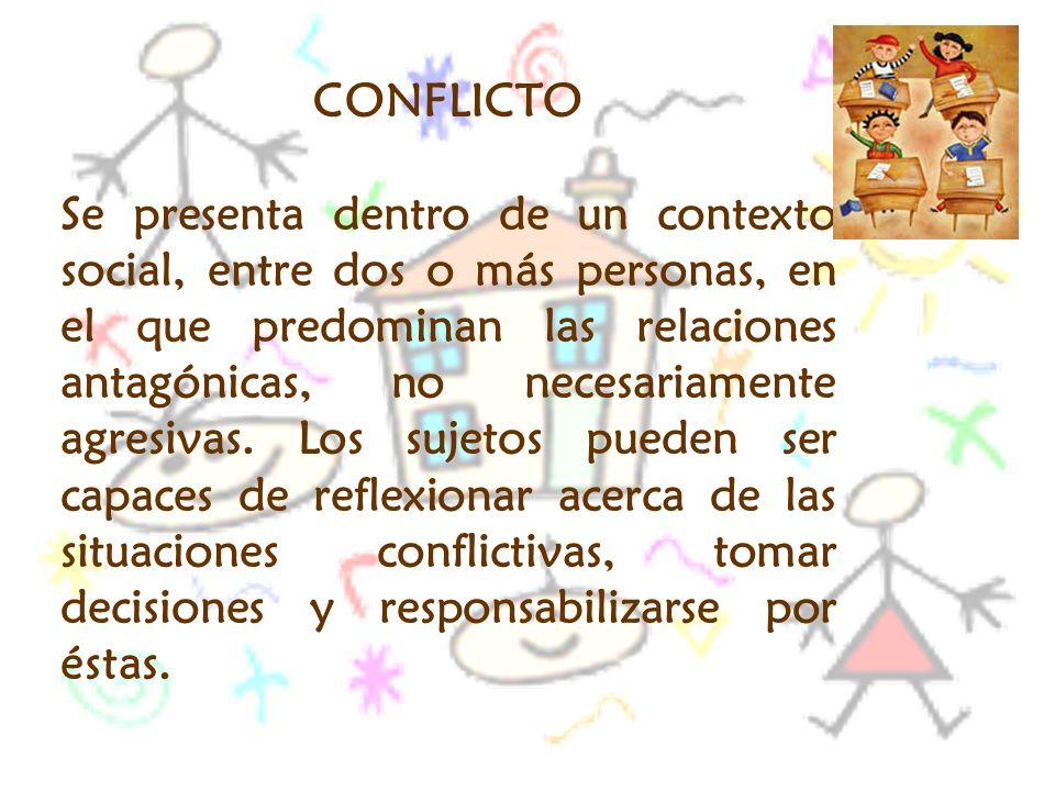 CONFLICTO Se presenta dentro de un contexto social, entre dos o más personas, en el que predominan las relaciones antagónicas, no necesariamente agres