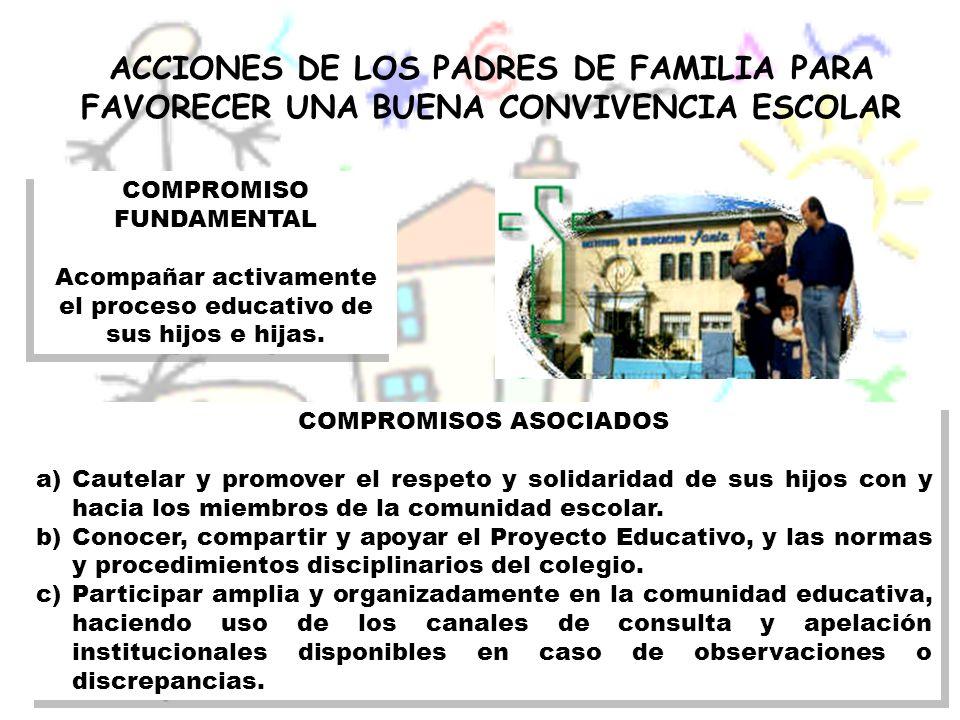 ACCIONES DE LOS PADRES DE FAMILIA PARA FAVORECER UNA BUENA CONVIVENCIA ESCOLAR COMPROMISOS ASOCIADOS a)Cautelar y promover el respeto y solidaridad de