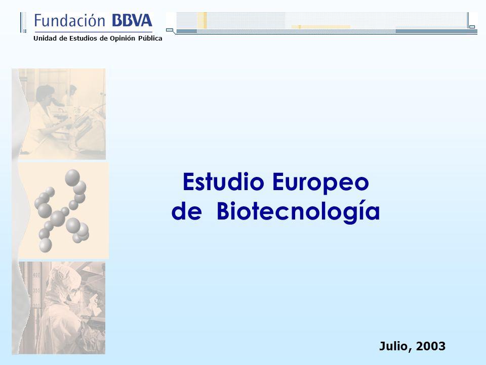 Unidad de Estudios de Opinión Pública Estudio Europeo de Biotecnología Julio, 2003
