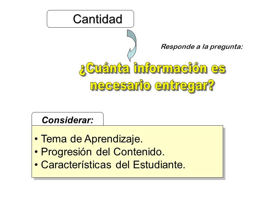 Cantidad Cantidad Responde a la pregunta: Considerar: Tema de Aprendizaje. Progresión del Contenido. Características del Estudiante. Tema de Aprendiza