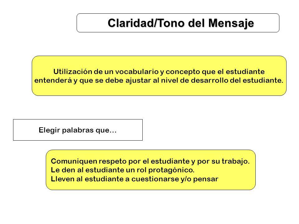 Claridad/Tono del Mensaje Utilización de un vocabulario y concepto que el estudiante entenderá y que se debe ajustar al nivel de desarrollo del estudi