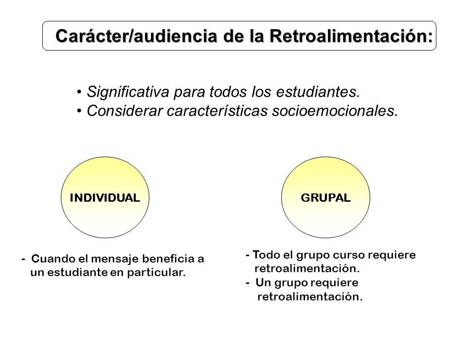 Carácter/audiencia de la Retroalimentación: Significativa para todos los estudiantes. Considerar características socioemocionales. INDIVIDUALGRUPAL -
