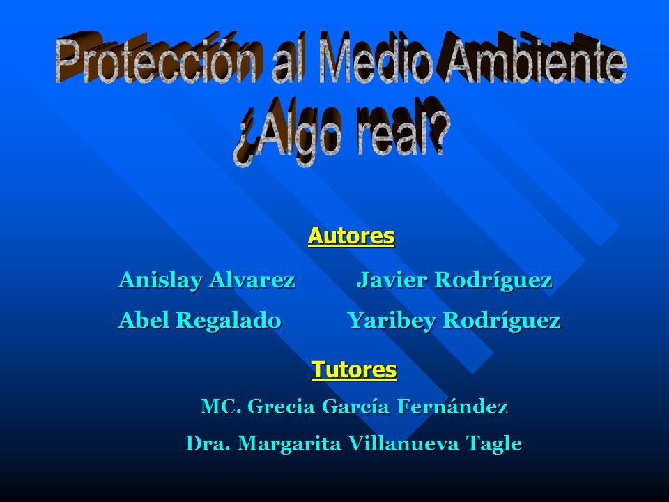 Javier Rodríguez Yaribey Rodríguez Tutores MC. Grecia García Fernández Dra. Margarita Villanueva Tagle Autores Anislay Alvarez Abel Regalado