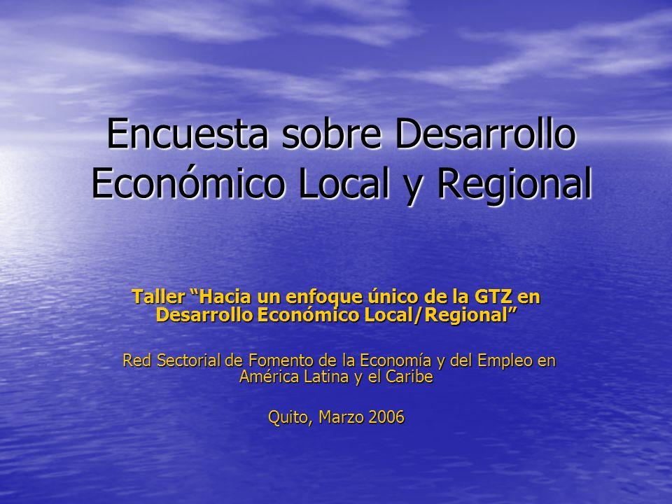 Encuesta sobre Desarrollo Económico Local y Regional Taller Hacia un enfoque único de la GTZ en Desarrollo Económico Local/Regional Red Sectorial de F