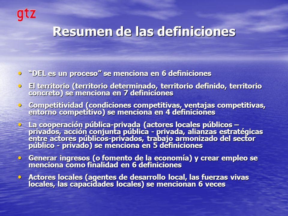 Resumen de las definiciones DEL es un proceso se menciona en 6 definiciones DEL es un proceso se menciona en 6 definiciones El territorio (territorio