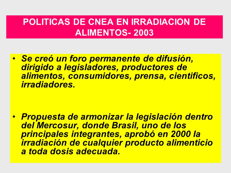 ALGUNOS INCONVENIENTES ACERCA DE LAS INSTALACIONES DE IRRADIACION EN ARGENTINA Son pocas.