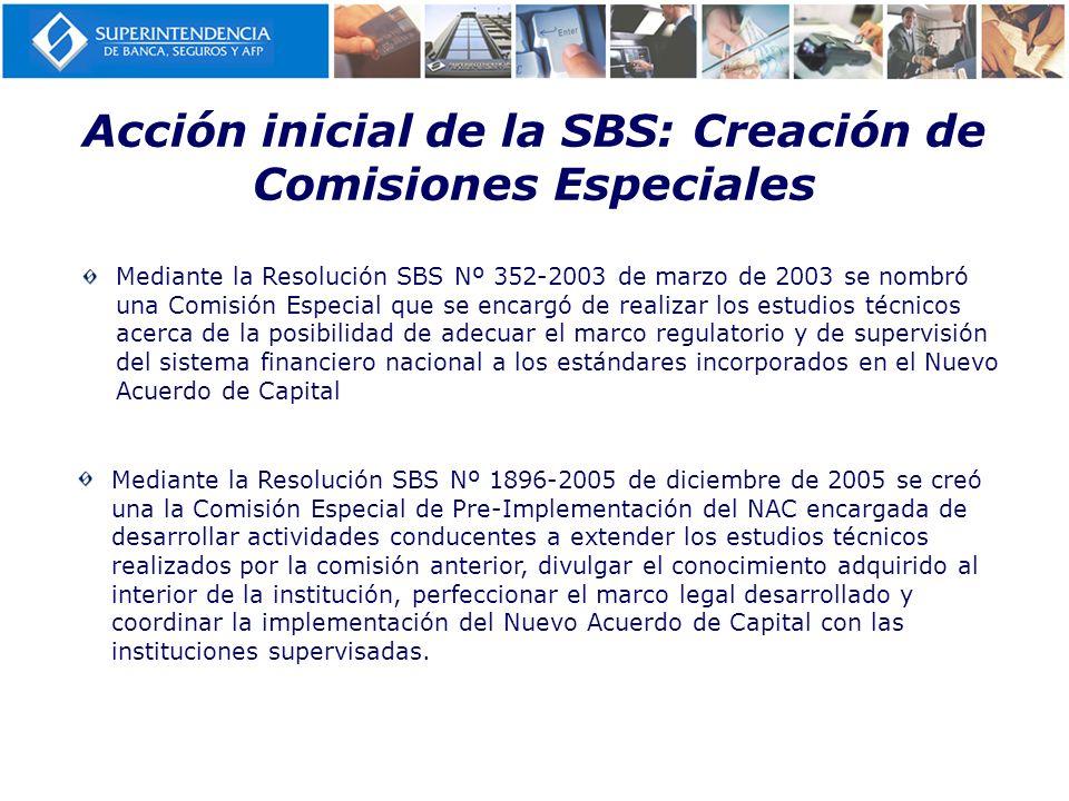 Acción inicial de la SBS: Creación de Comisiones Especiales Mediante la Resolución SBS Nº 1896-2005 de diciembre de 2005 se creó una la Comisión Espec
