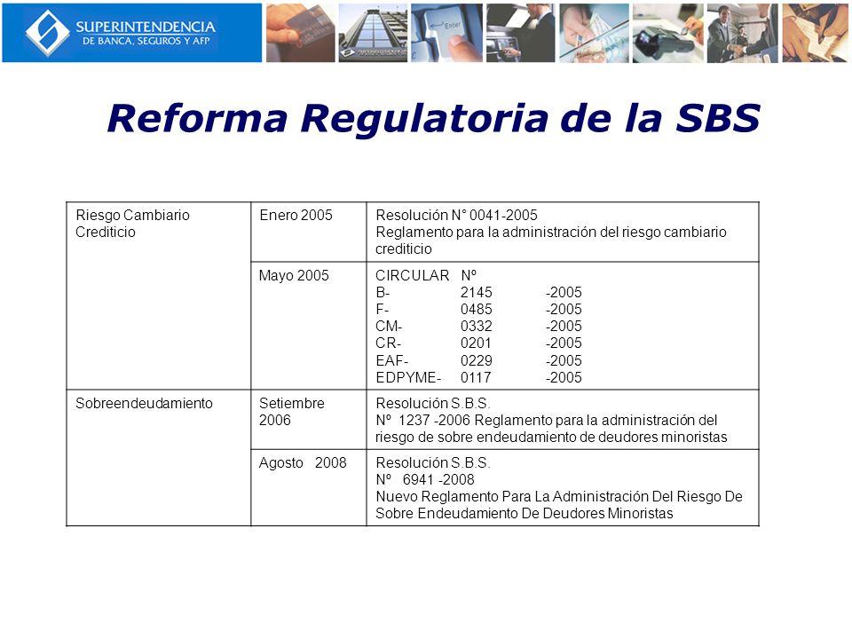 Reforma Regulatoria de la SBS Riesgo Cambiario Crediticio Enero 2005Resolución N° 0041-2005 Reglamento para la administración del riesgo cambiario cre