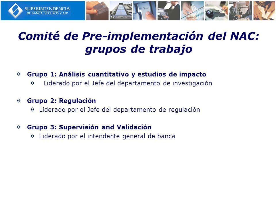Cambios específicos: reglamentos para la implementación Fecha de Prepublicación Fecha de publicación Normas marcoGestión Integral de Riesgos------- Enero 2008 Gestión de Riesgo crediticioMarzo 2010Junio 2010 Gestión de Riegos de mercadoMarzo 2010Junio 2010 Gestión de Riesgo operacionalOctubre 2008Abril 2009 Requerimientos De patrimonio efectivo Riesgo crediticioDiciembre 2008Octubre 2009 Riesgo de mercadoSetiembre 2008Junio 2009 Riesgo operacionalSetiembre 2008Abril 2009 Otros Reglamento de provisiones------- Nov.2008 Estructura de capital y Deuda Subordinada Diciembre 2008 Junio 2009 Clasificadoras externasMarzo 2010Julio 2009 ICAAP: Palanca en la sombraAbril 2010Julio 2010