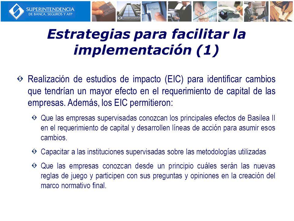 Realización de estudios de impacto (EIC) para identificar cambios que tendrían un mayor efecto en el requerimiento de capital de las empresas. Además,