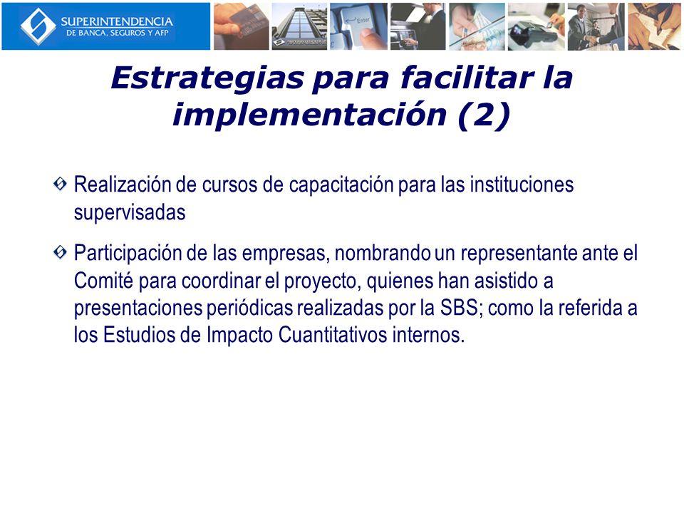 Estrategias para facilitar la implementación (2) Realización de cursos de capacitación para las instituciones supervisadas Participación de las empres