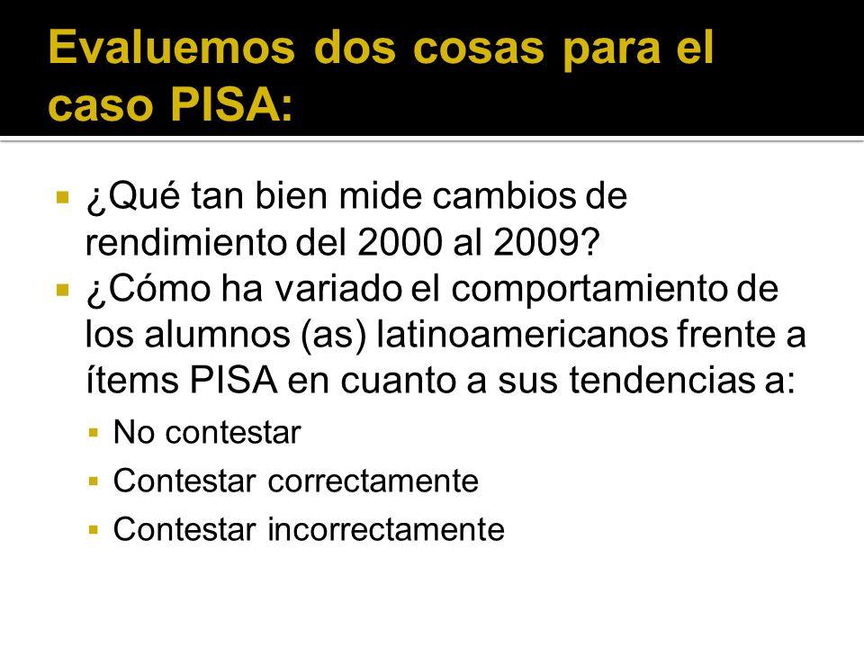 Evaluemos dos cosas para el caso PISA: ¿Qué tan bien mide cambios de rendimiento del 2000 al 2009.