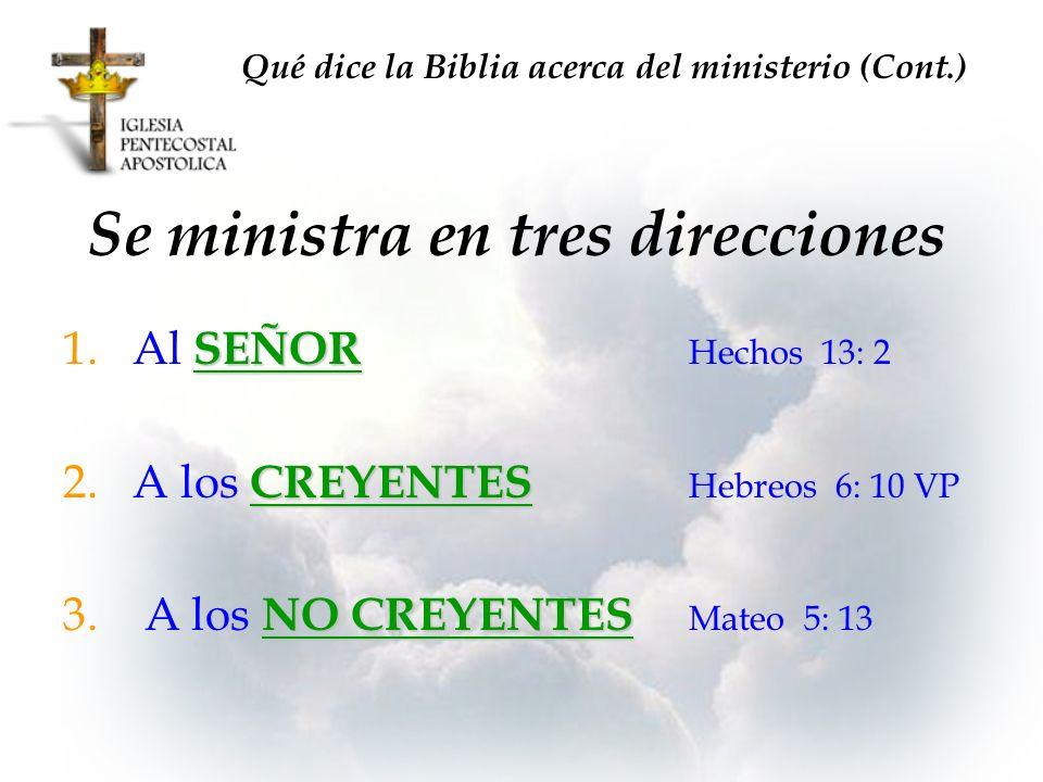 Se ministra en tres direcciones SEÑOR 1.Al SEÑOR Hechos 13: 2 CREYENTES 2.A los CREYENTES Hebreos 6: 10 VP NO CREYENTES 3. A los NO CREYENTES Mateo 5: