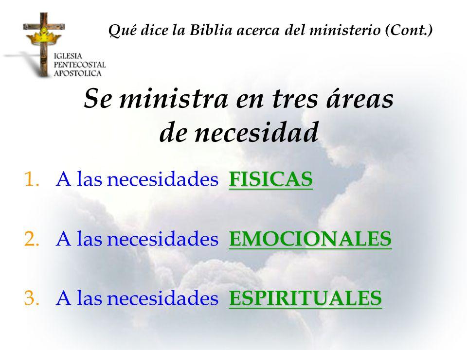 Se ministra en tres áreas de necesidad FISICAS 1.A las necesidades FISICAS EMOCIONALES 2.A las necesidades EMOCIONALES ESPIRITUALES 3.A las necesidade