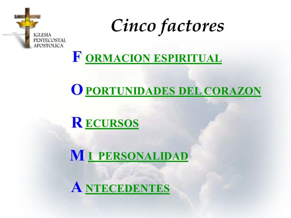 ORMACION ESPIRITUAL PORTUNIDADES DEL CORAZON ECURSOS I PERSONALIDAD NTECEDENTES F O R M A Cinco factores
