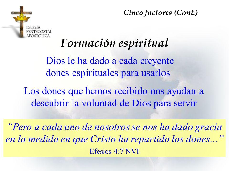 Dios le ha dado a cada creyente dones espirituales para usarlos Formación espiritual Cinco factores (Cont.) Los dones que hemos recibido nos ayudan a