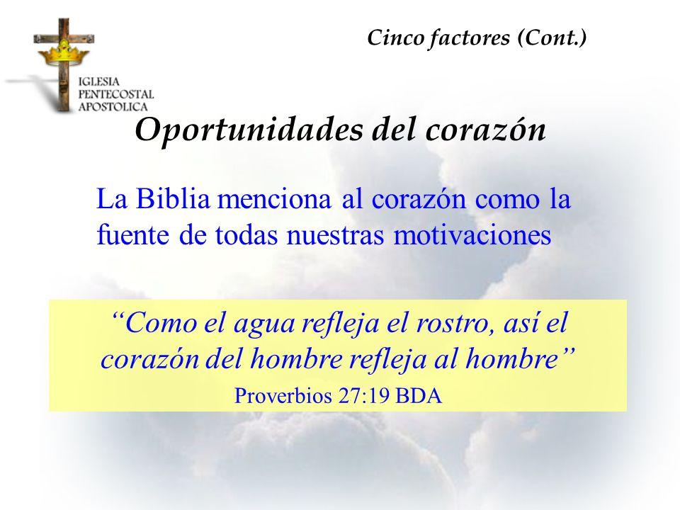 La Biblia menciona al corazón como la fuente de todas nuestras motivaciones Oportunidades del corazón Cinco factores (Cont.) Como el agua refleja el r