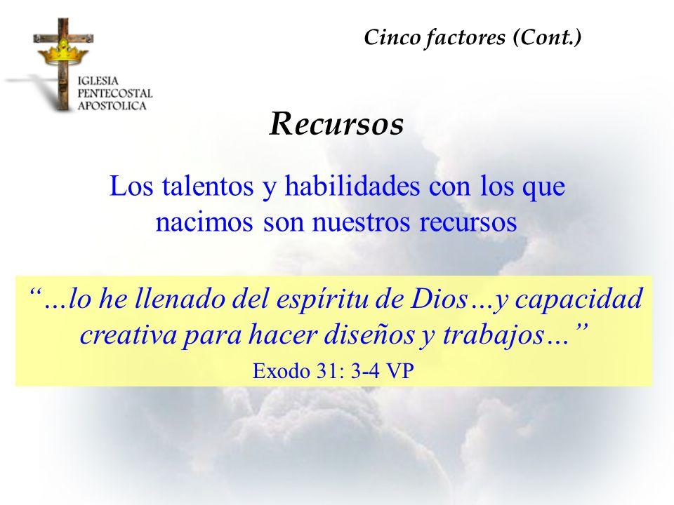 Los talentos y habilidades con los que nacimos son nuestros recursos Recursos Cinco factores (Cont.) …lo he llenado del espíritu de Dios…y capacidad c
