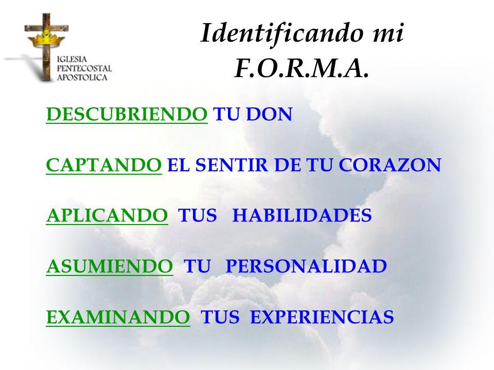Identificando mi F.O.R.M.A. DESCUBRIENDO TU DON CAPTANDO EL SENTIR DE TU CORAZON APLICANDO TUS HABILIDADES ASUMIENDO TU PERSONALIDAD EXAMINANDO TUS EX